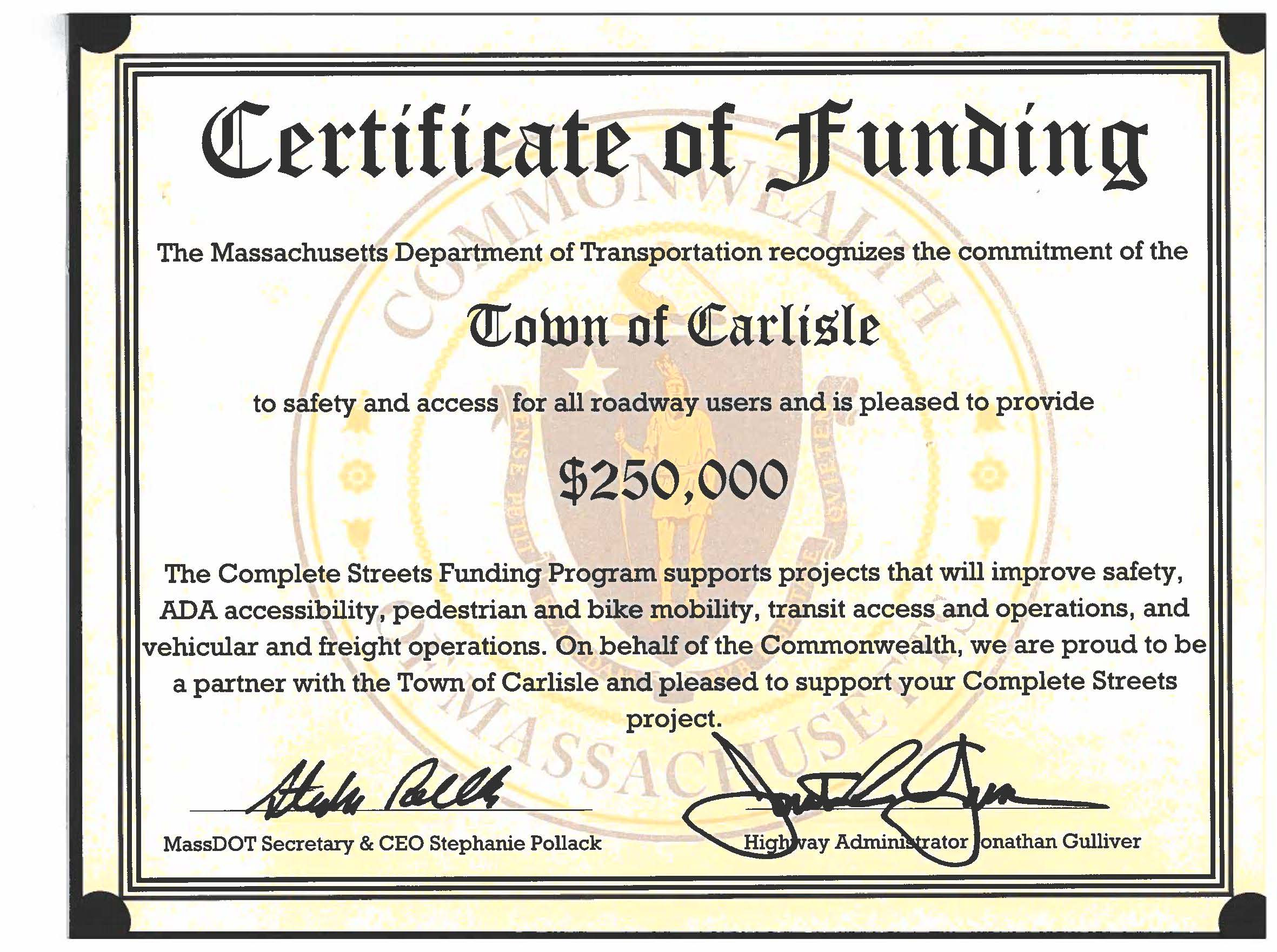 Complete Streets Funding Certificate